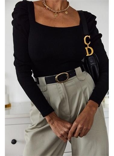 XHAN Siyah Prenses Kol U Yaka Bluz 1Kxk2-44703-02 Siyah